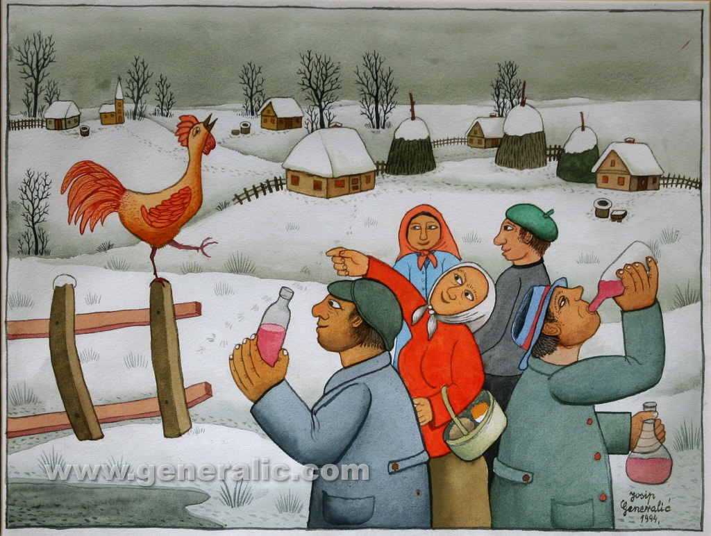 Josip Generalic, 1994, Rooster watching a party, watercolour
