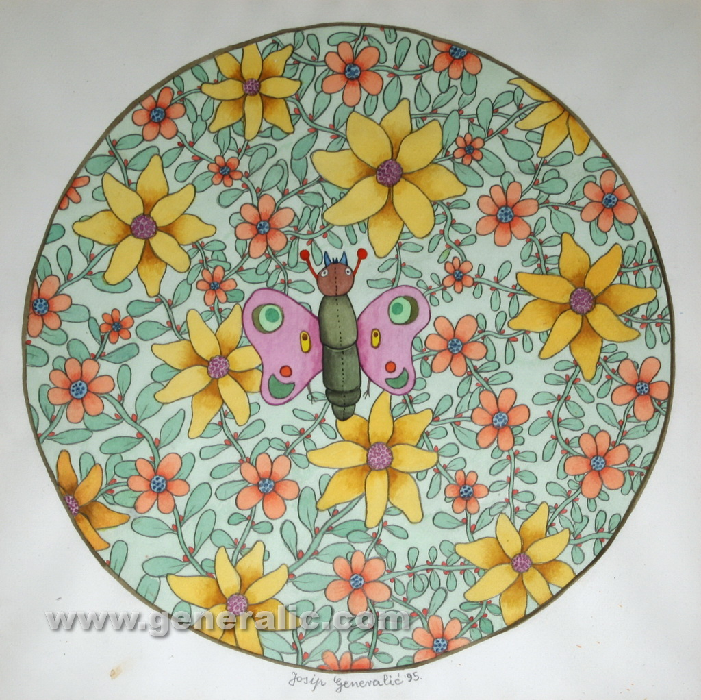 Josip Generalic, 1995, Round flowers, watercolour, 50x50 cm 40x40 cm
