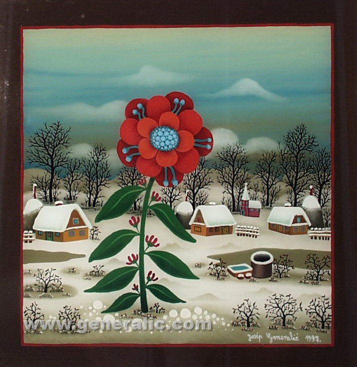 Josip Generalic, 1997, Winter flower, oil on glass