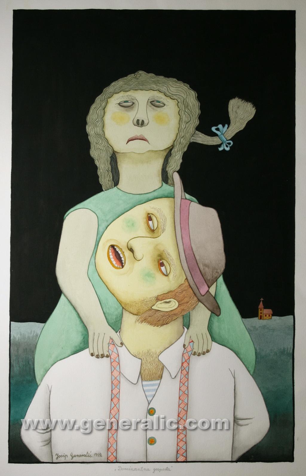 Josip Generalic, 1999, Dominant housewife, watercolour, 69x43 cm