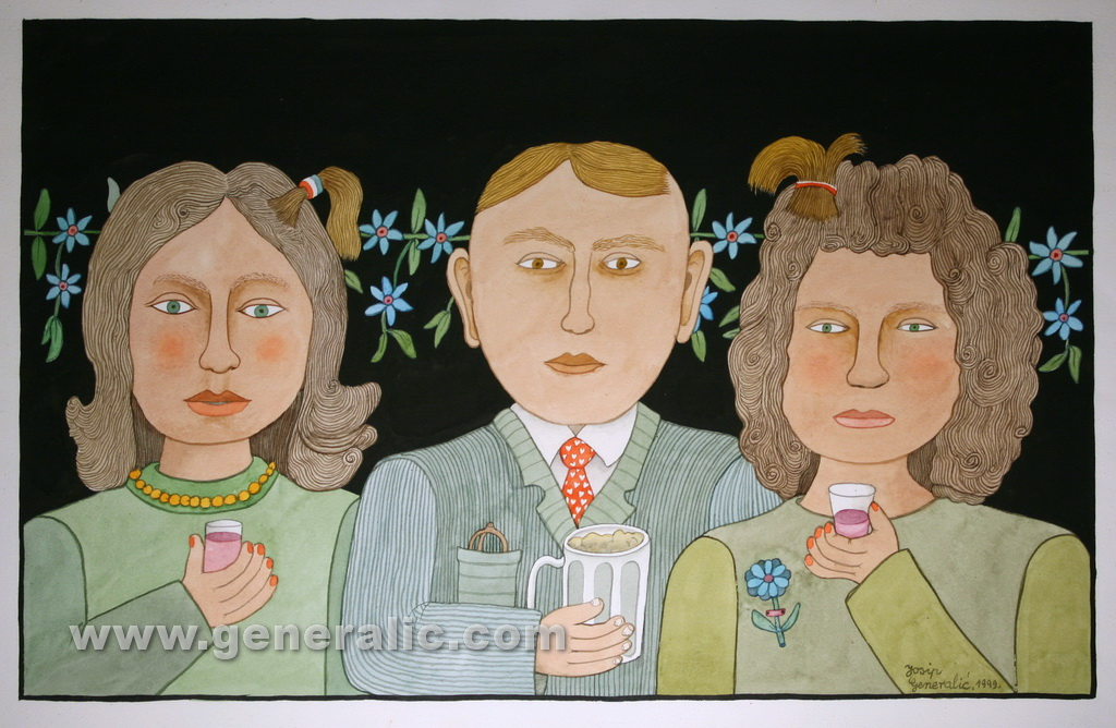 Josip Generalic, 1999, Gentleman with ladies, watercolour, 43x69 cm