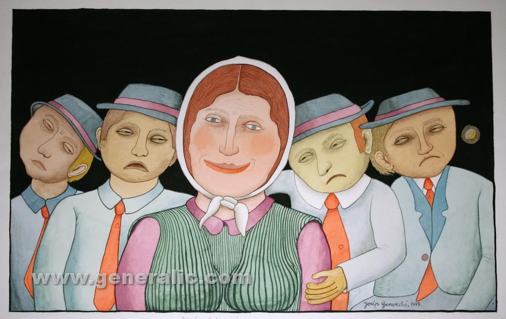 Josip Generalic, 1999, Tired lovers, watercolour, 43x69 cm