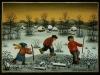 Josip Generalic, 1991, Three skaters, oil on glass