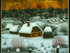 Josip Generalic, 1991, Winter with red Sun, oil on glass