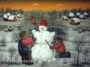 Josip Generalic, 1994, Children making snowman, oil on glass
