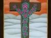 Josip Generalic, 1994, Flower cross, oil on glass, 26x17 cm
