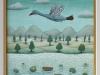 Josip Generalic, 1998, Stork over river, oil on canvas, 24x18 cm