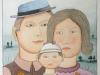 Josip Generalic, 1999, A family, watercolour, 46x31 cm