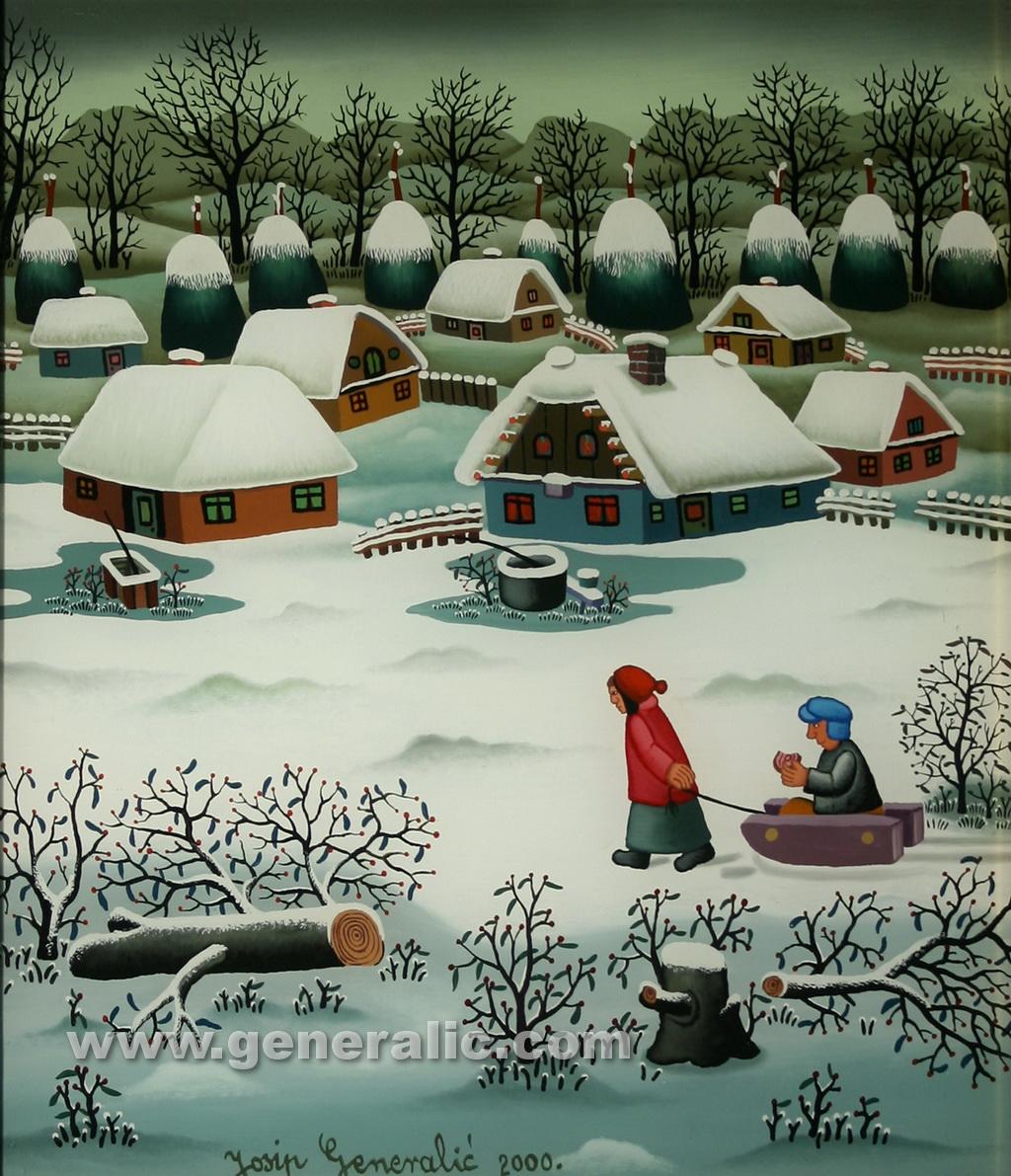 Josip Generalic, 2000, Children with sledge, oil on glass, 40x35 cm