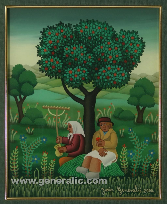 Josip Generalic, 2000, Under apple tree, oil on glass, 30x24 cm