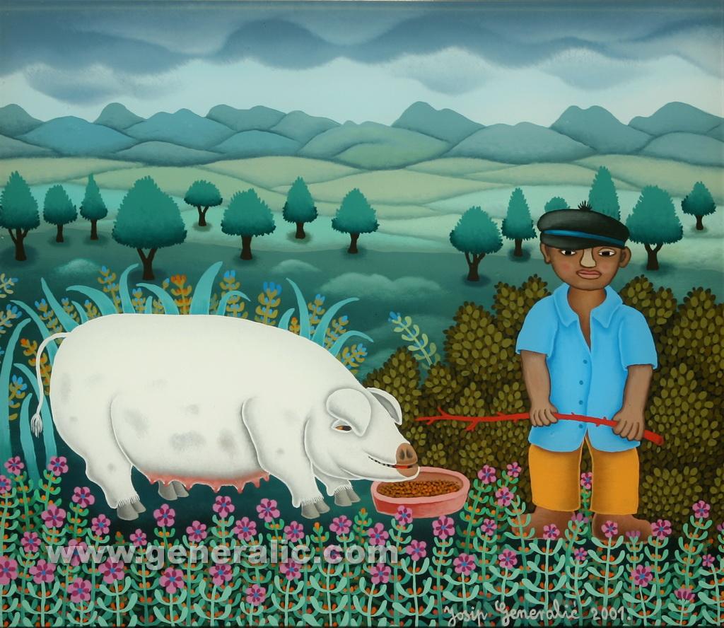 Josip Generalic, 2001, Boy with white pig, oil on glass, 34x39 cm