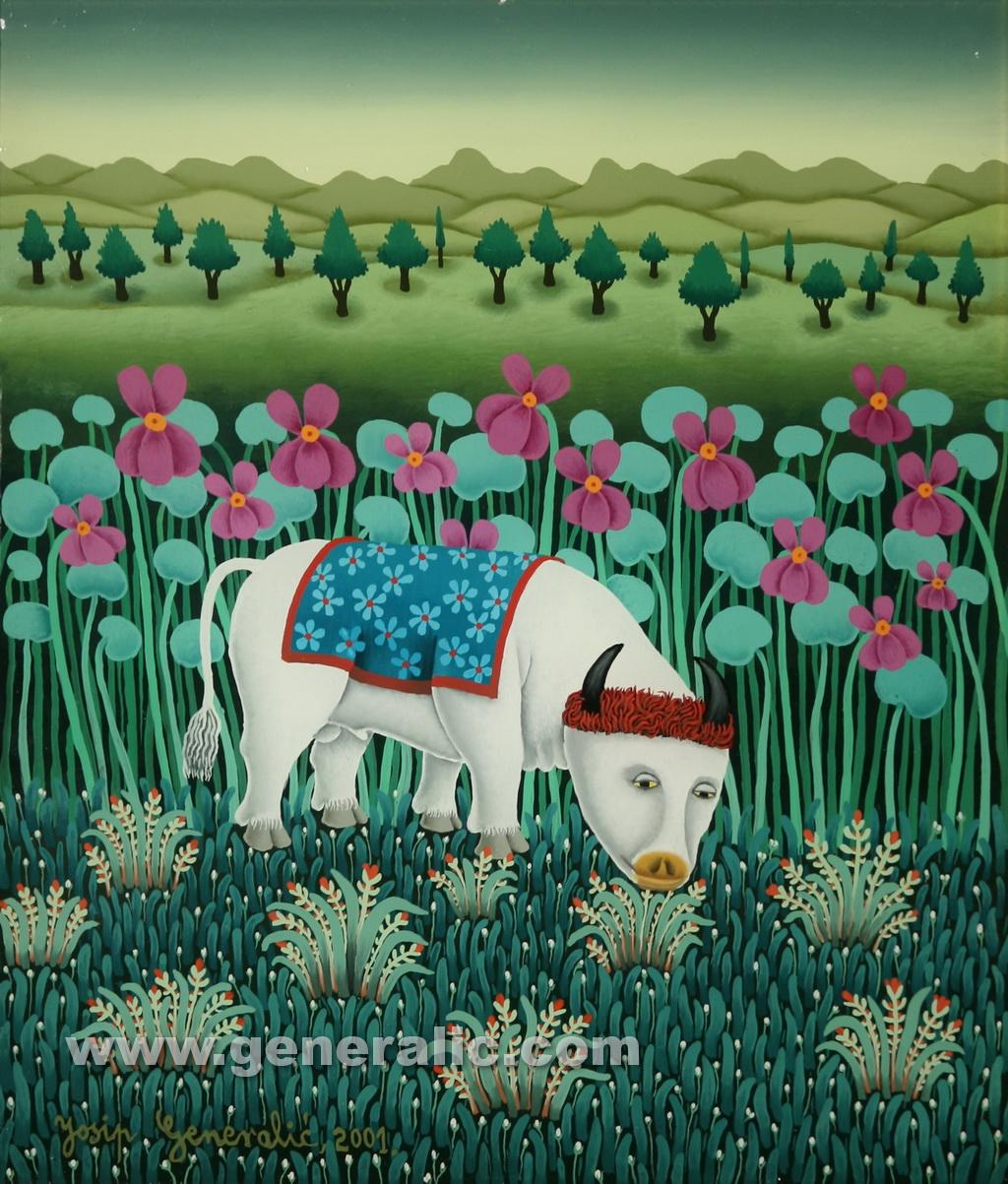 Josip Generalic, 2001, White cow, oil on glass