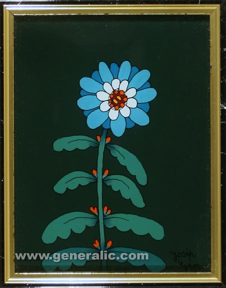 Josip-Generalic-2003-Blue-flower-oil-on-glass-16×12-cm