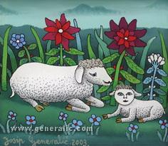 Josip Generalic, 2003, Two sheep, oil on glass
