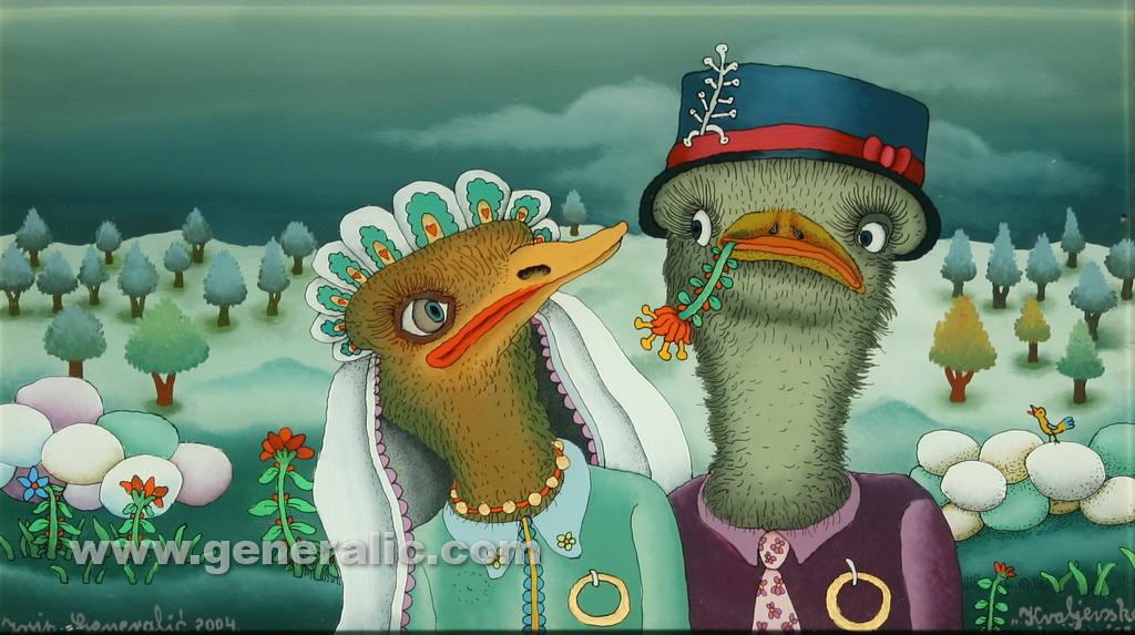 Josip Generalic, 2004, Ostrich wedding, oil on glass, 22x38 cm