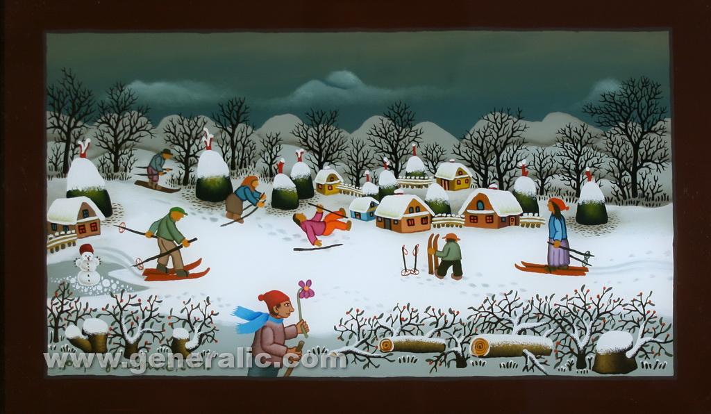 Josip Generalic, 2004, Winter with skiers, oil on glass, 23x38 cm