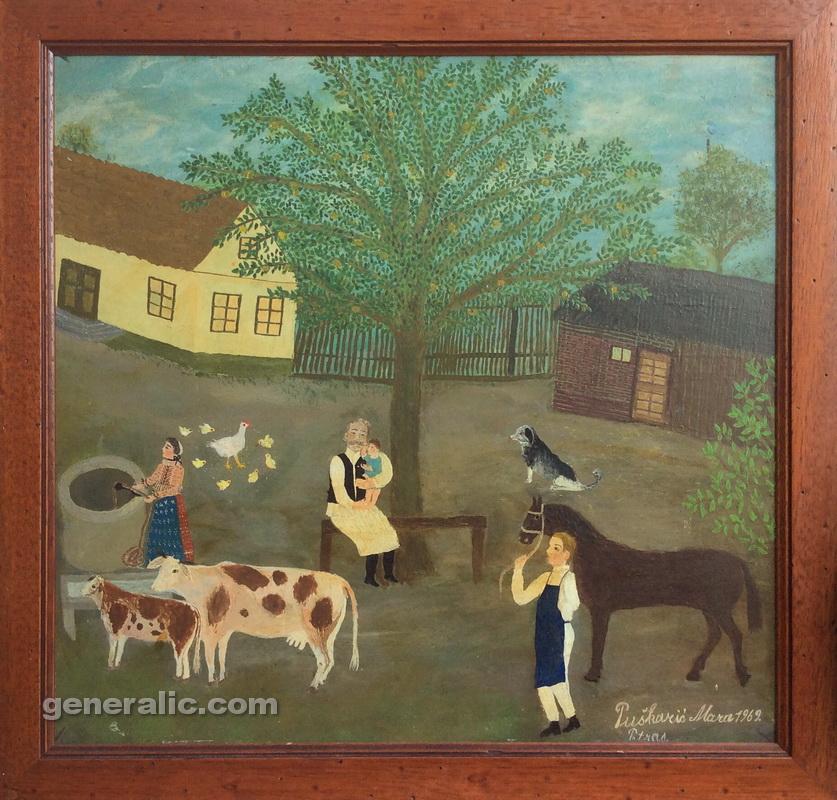 Mara Puskaric, 1969, Cows are drinking, oil on chipboard, 39x41 cm - 1500 eur