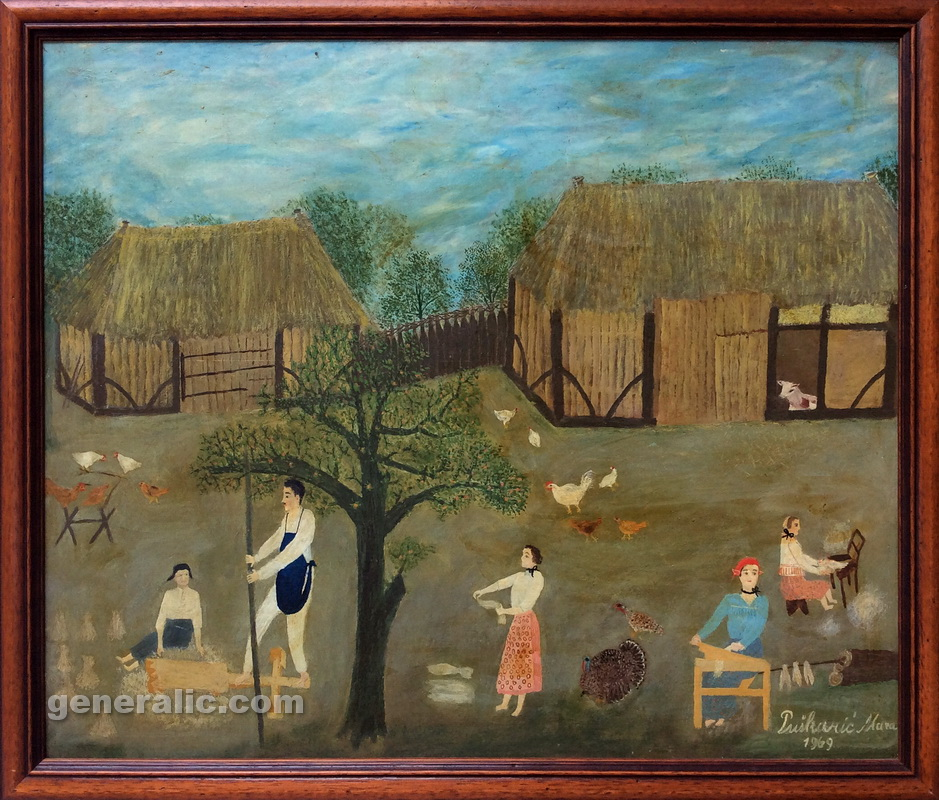 Mara Puskaric, 1969, Working in backyard, oil on chipboard, 46x55 cm - 2000 eur