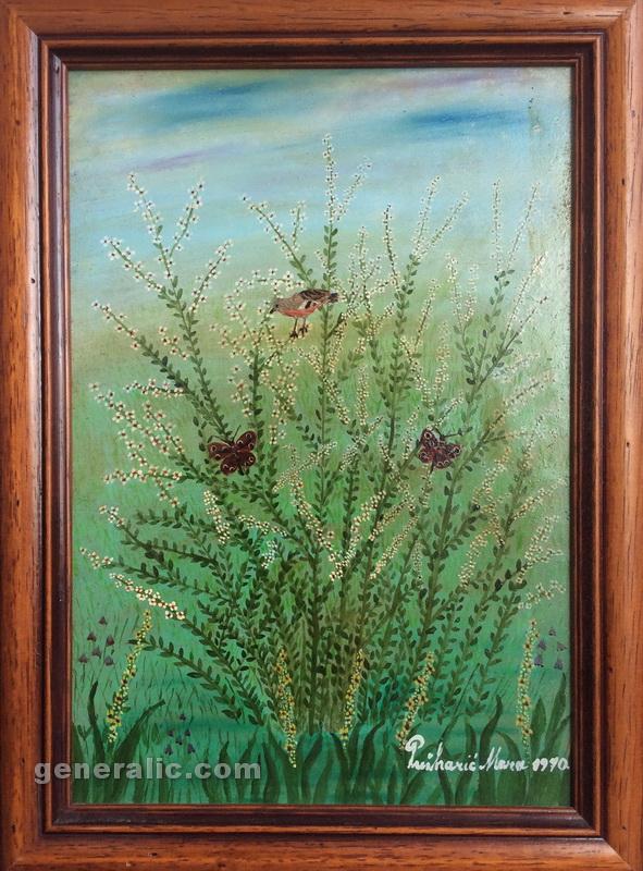 Mara Puskaric, 1970, Birds, oil on chipboard, 28x20 cm -1000 eur