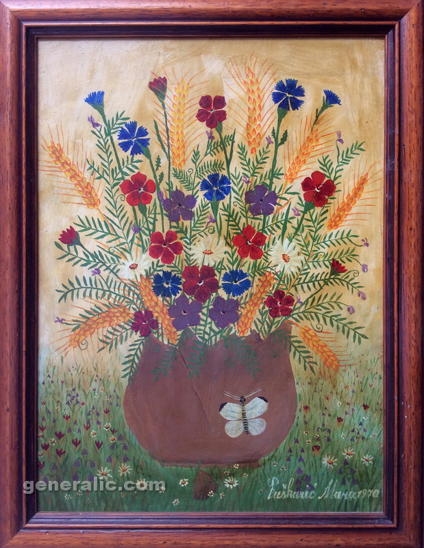 Mara Puskaric, 1970, Flowers with butterfly, oil on chipboard, 35x25 cm - 1000 eur