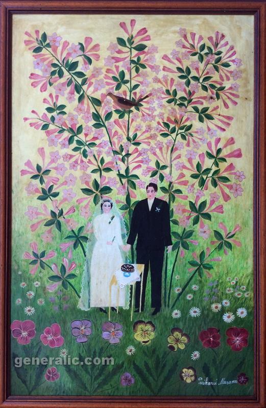 Mara Puskaric, 1970, Wedding, oil on chipboard, 51x79 cm - 2000 eur