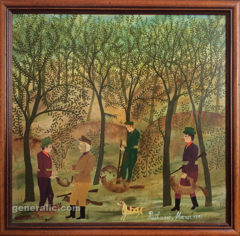 Mara Puskaric, 1971, Hunters, oil on chipboard, 39x40 cm - 1500 eur