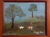 Mara Puskaric, 1963, Boy with a dog, oil on chipboard, 25x31 cm - 1000 eur