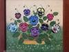 Mara Puskaric, 1970, Flowers, oil on chipboard, 30x32 cm - 1000 eur
