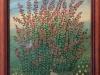 Mara Puskaric, 1970, Flowers with birds, oil on chipboard, 32x25 cm - 1000 eur