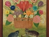 Mara Puskaric, 1970, Flowers with cats, oil on chipboard, 61x51 cm - 2000 eur