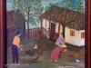 Mara Puskaric, 1971, Family in backyard, oil on chipboard, 31x34 cm - 1000 eur