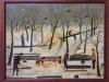 Mara Puskaric, 1971, Winter, oil on chipboard, 46x59 cm - 2000 eur