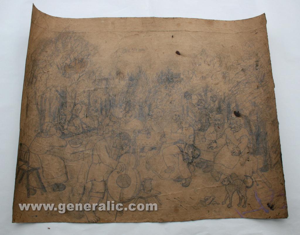 Ivan Generalic, A party, drawing, 54x66 cm