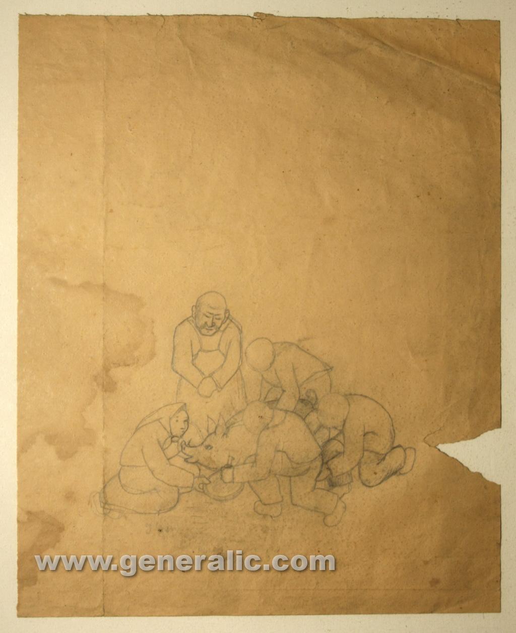 Ivan Generalic, Butchers, drawing, 47x38 cm