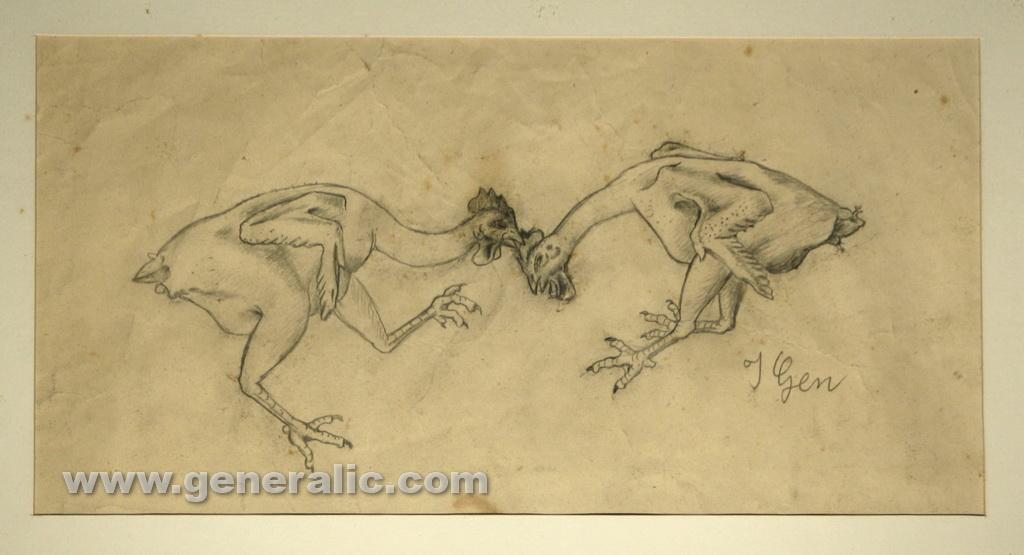 Ivan Generalic, Chicken fight, drawing, 42x22 cm