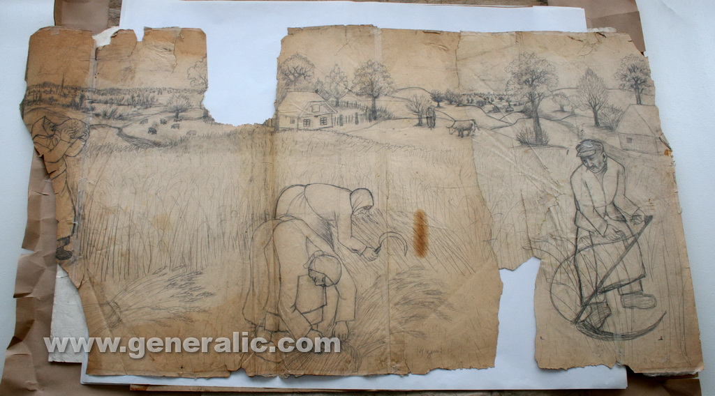 Ivan Generalic, Gathering the hay, drawing, 70x130 cm