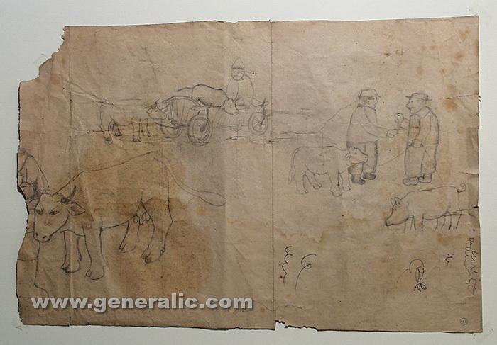 Ivan Generalic, The fair, drawing