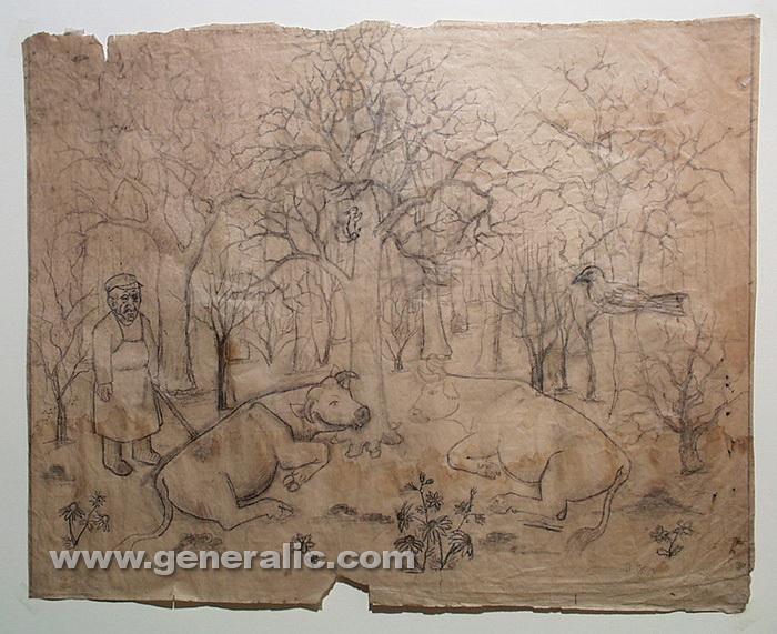 Ivan Generalic, Two cows, drawing