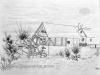 Ivan Generalic, Watermill, drawing, 20x38 cm