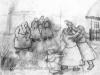 Ivan Generalic, Women fighting, drawing
