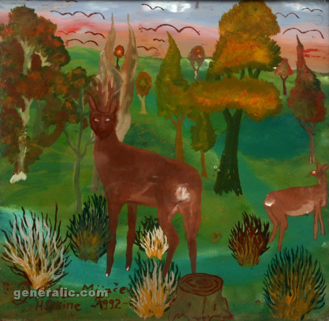 Drazen Tetec, 1992, oil on glass, A deer, 20x20cm - Price 400 eur