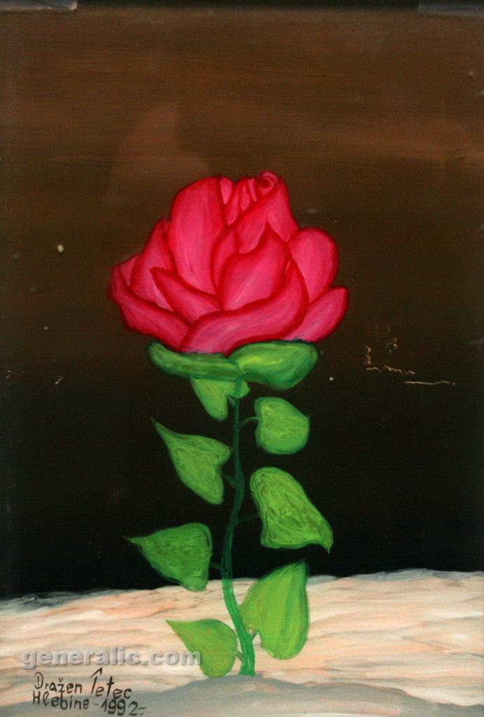 Drazen Tetec, 1992, oil on glass, Red Flower, 20x14cm - Price 200 eur