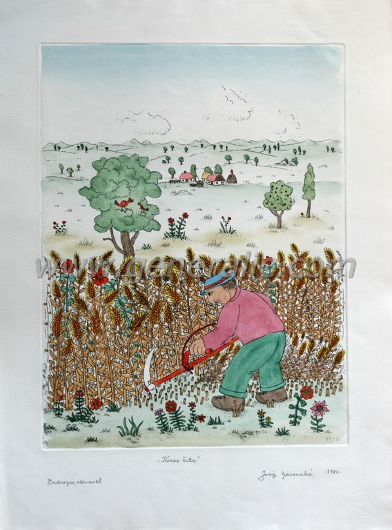 Josip Generalic, JG-B02-01(2), Hay mower, water-coloured etching, 53x38 cm 39x29 cm, 1980 - 800 eur