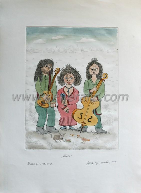 Josip Generalic, JG-B03-01(6), Trio, water-coloured etching, 53x39 cm 32x25 cm, 1985 - 400 eur