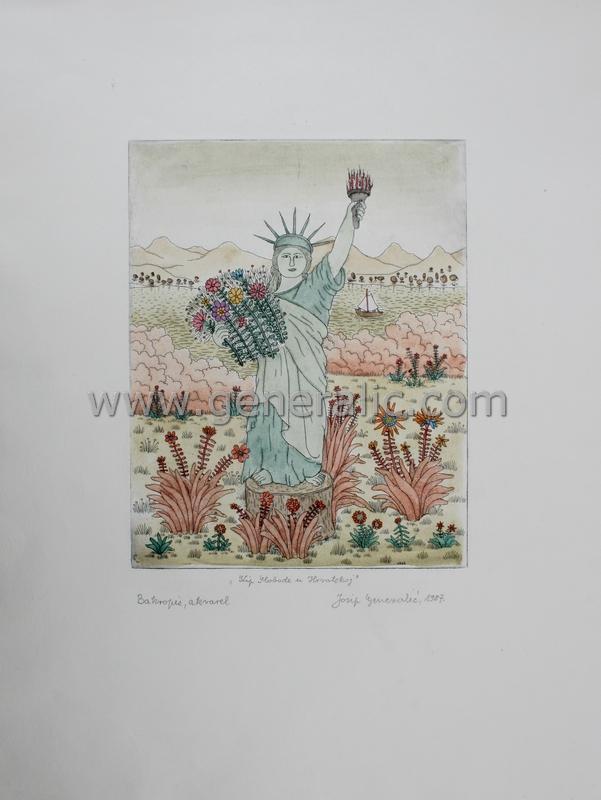 Josip Generalic, JG-C02-02(2), Statue of Liberty in Croatia, water-coloured etching, 53x39 cm 27x21 cm, 1987 - 400 eur