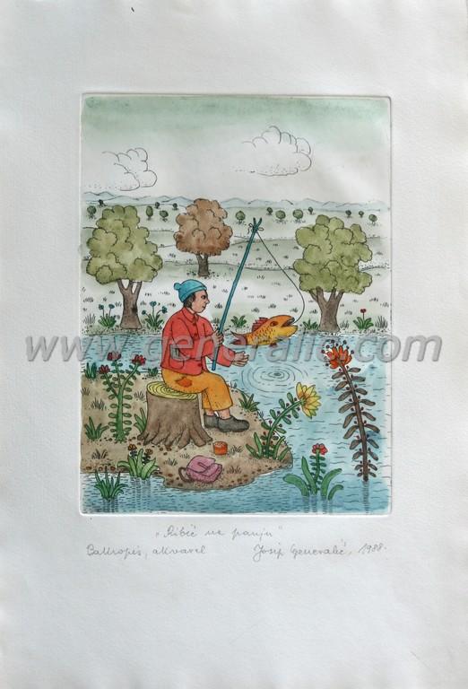 Josip Generalic, JG-C11-01 (3), Angler on a log, water-coloured etching, 39x26 cm 23x17 cm, 1988 - 600 eur