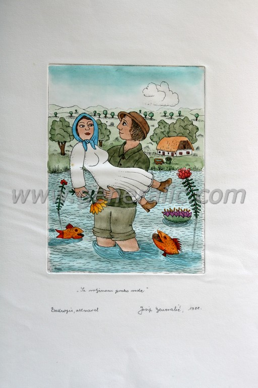 Josip Generalic, JG-C14-02 (Last one), With loved one over the brook, water-coloured etching, 53x39 cm 23x17 cm, 1988 - 500 eur
