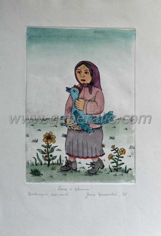 Josip Generalic, JG-C15-01(2), Woman with a bird, water-coloured etching, 39x26 cm 18x25 cm, 1975 - 600 eur