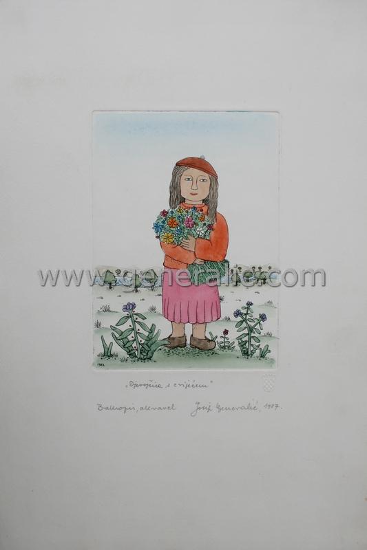 Josip Generalic, JG-D01-03 (Last one), Girl with flowers,  water-coloured etching, 33x28 cm 18x13 cm, 1987 - 500 eur