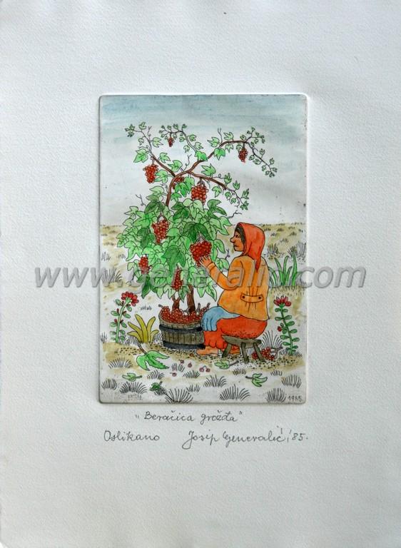 Josip Generalic, JG-E02-01(2), Woman picking grapes, water-coloured etching, 27x20 cm 15x10 cm, 1985 - 400 eur